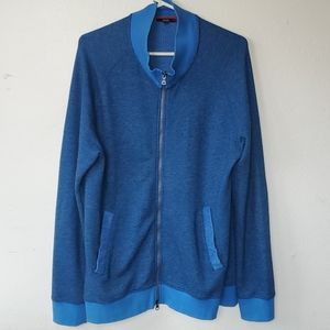 Benson blue zip up cardigan sweater size large